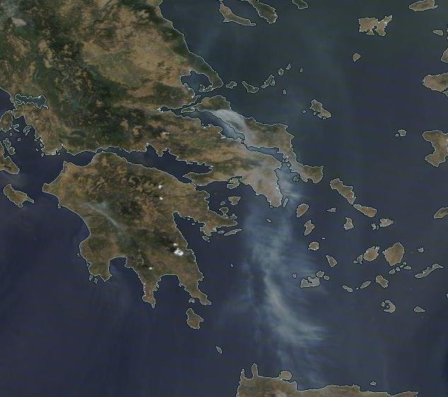 Satellitenbild auf dem Rauch über Griechenland zu sehen ist, 05.08.21